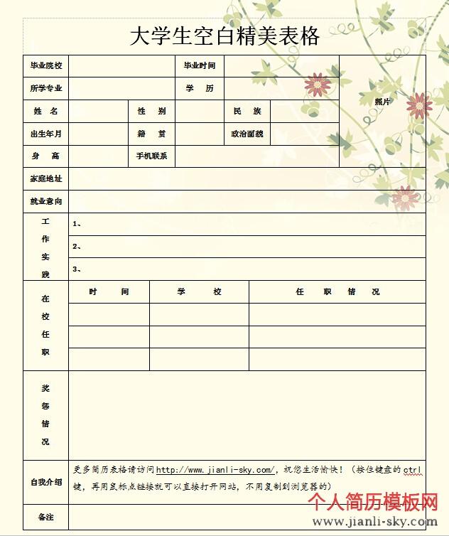 简历模板网为你提供的一份适合个人求职的简历表格图片