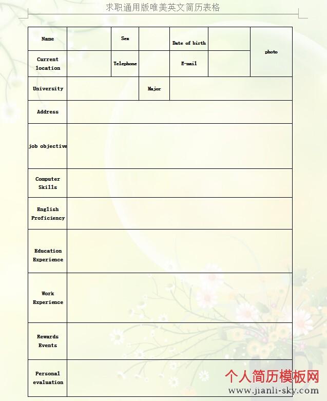 求职通用版唯美英文简历表格