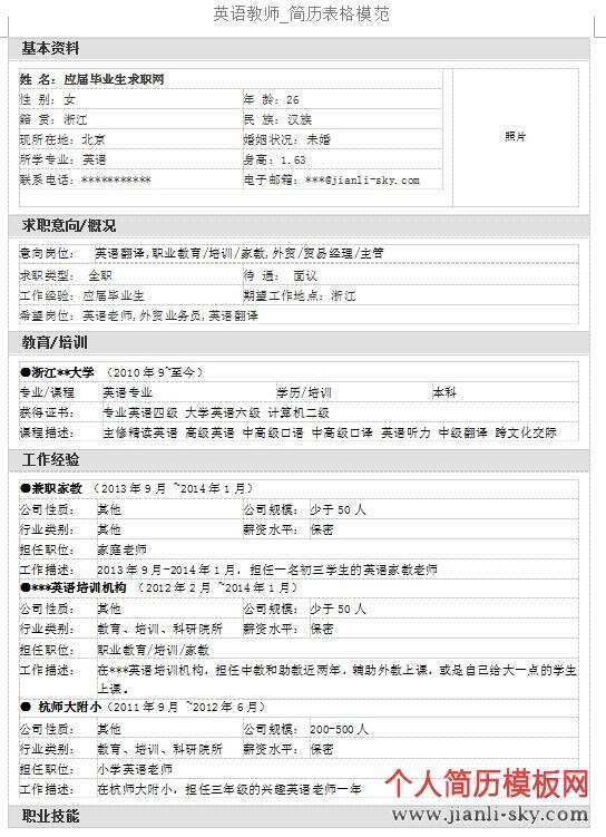 英语教师_简历表格模范_个人简历模板网